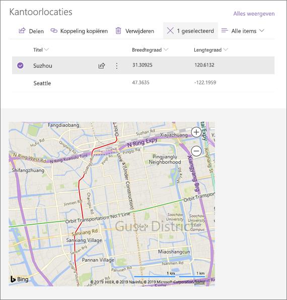 Voorbeeld van een verbonden webonderdeel insluiten is een locatie in een lijst met