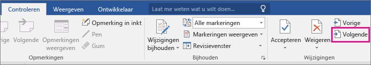 De optie Volgende is gemarkeerd op het tabblad Controle.