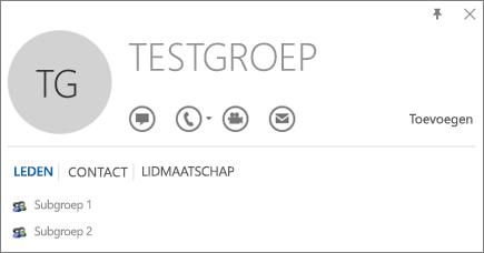 Schermafbeelding van het tabblad Leden van het Outlook-visitekaartje voor de groep genaamd Testgroep. Subgroep 1 en Subgroep 2 worden weergegeven als leden.