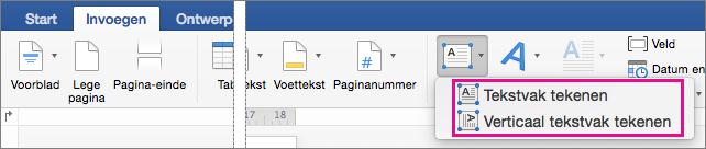 Klik op tekstvak als u wilt invoegen van een tekstvak met horizontale of verticale tekst.