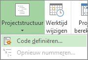 Afbeelding van de optie Code definiëren van de knop Projectstructuur.