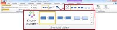 Het tabblad Ontwerpen onder Hulpmiddelen voor SmartArt