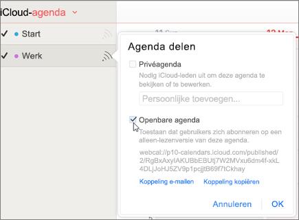 Openbare agenda-instellingen in iCloud