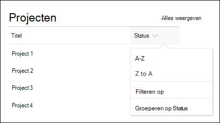 Het webonderdeel lijst met sorteren, filteren en groep menu