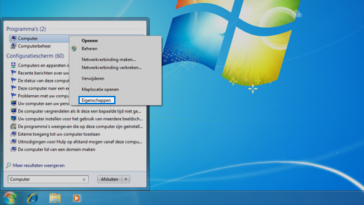 Configuratiescherm in Windows 7 besturingssysteem.