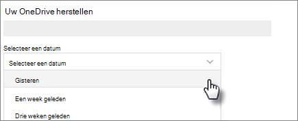 Scherm afbeelding van het selecteren van een datum in het herstellen van uw OneDrive