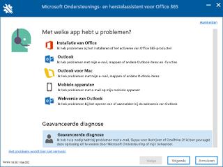 Schermafbeelding van scherm voor selectie van scenario in  Ondersteunings- en herstelassistent met Geavanceerde diagnose geselecteerd.
