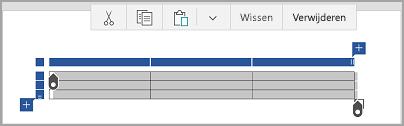 Opdrachtbalk Tabel van Windows Mobile