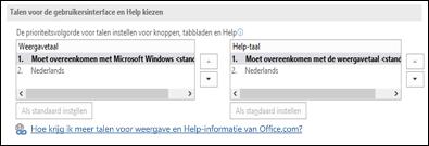 Het dialoogvenster waarin u de taal kunt selecteren die in Office wordt gebruikt voor knoppen, menu's en Help.