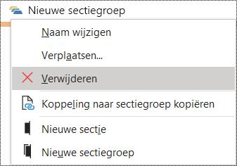 Dialoogvenster Sectiegroep verwijderen in OneNote voor Windows