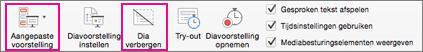 Selecteer Dia verbergen of Aangepaste voorstelling om een subset van dia's op te nemen
