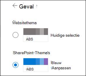 Een nieuw thema selecteren voor uw share point-site