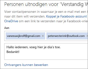 Zowel e-mailadressen typen als een bericht om een koppeling via e-mail te verzenden
