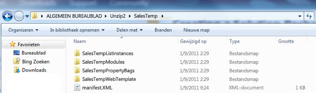Schermafbeelding van Windows Verkenner met een uitgepakt Web Solution Package (.wsp).