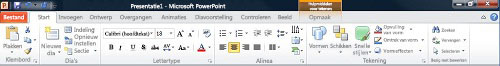 Het tabblad Start in PowerPoint 2010