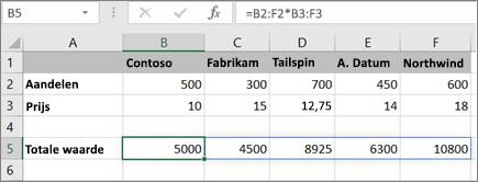 Een voorbeeld van een matrixformule waarin meerdere resultaten worden berekend