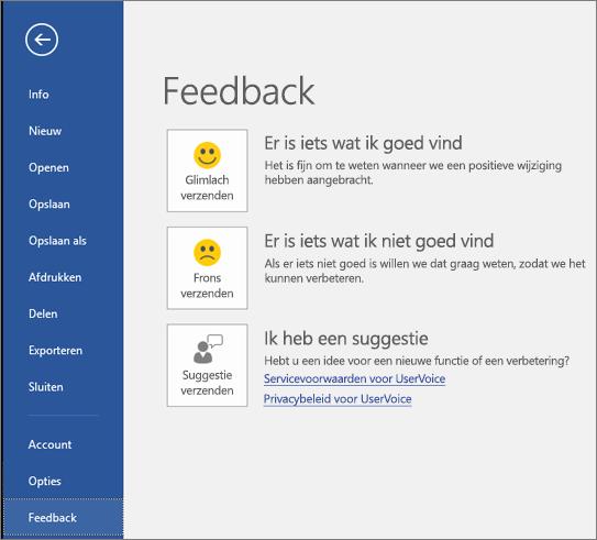 Klik op Bestand > Feedback om ons opmerkingen of suggesties te geven over Microsoft Visio