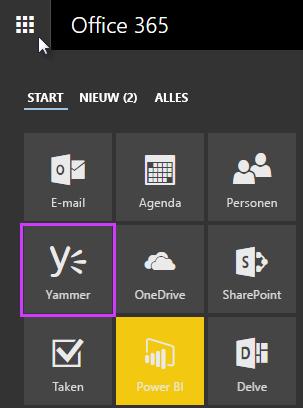 Klikken op Yammer in het startprogramma voor apps