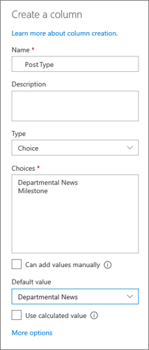 Voorbeeld van het instellen van een kolom voor nieuwscategorieën