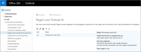 Geeft het gebied voor Regels voor Postvak IN en opruimen weer in de Opties voor e‑mail in Office 365. U kunt regels voor Postvak IN maken, bewerken en verwijderen voor het verwerken van uw e‑mails.