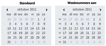 De datumnavigator op de takenbalk met en zonder weeknummers