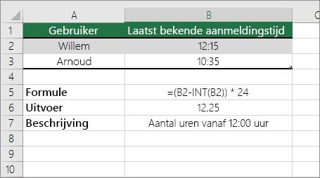 Voorbeeld: uren van de standaardtijdnotatie converteren naar een decimaal getal.