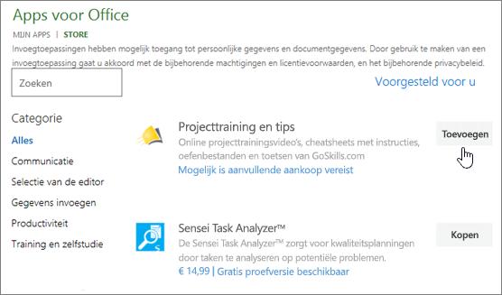 Schermafbeelding van de pagina Office-invoegtoepassingen in de winkel waar u kunt selecteren of zoeken naar een invoegtoepassing voor Project.