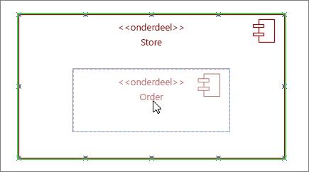 Subsysteem-shape Opslag met onderdeel Order eroverheen geplaatst