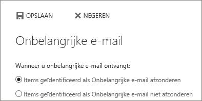 Opties voor onbelangrijke e-mail