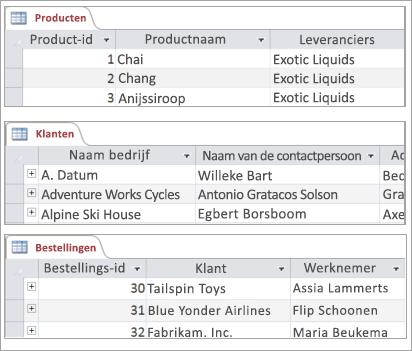 Fragmenten van product-, klanten- en ordertabellen