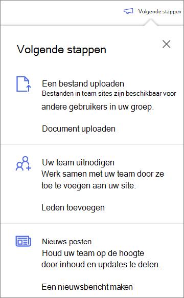 Het deelvenster volgende stappen na het maken van een nieuwe gedeelde bibliotheek in OneDrive voor bedrijven