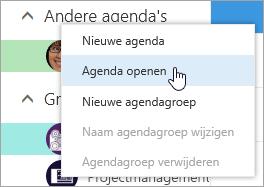 Schermafbeelding van het contextmenu voor Andere agenda's met Kalender openen geselecteerd.