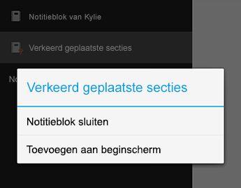 De opdracht Notitieblok sluiten in OneNote voor Android