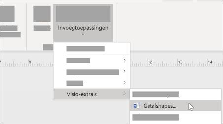 Selecteer onder het tabblad Beeld invoegtoepassingen > Visio-extra's > Shapes nummeren om toe te voegen getalnotatie.