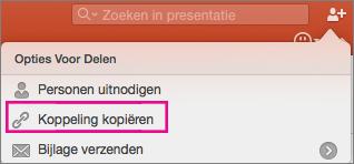 Koppeling voor kopie delen in PowerPoint voor Mac