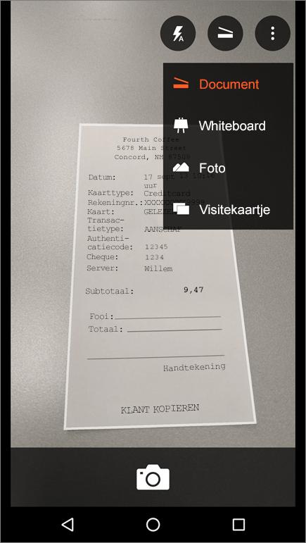 Schermafbeelding van het opnemen van een afbeelding in Office Lens voor Android.