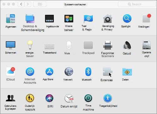 Schermafbeelding van systeemvoorkeuren op een Mac