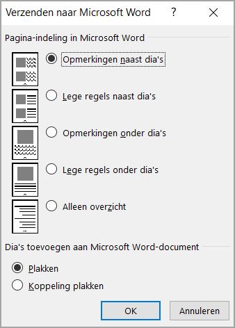 Dialoogvenster verzenden naar Microsoft Word