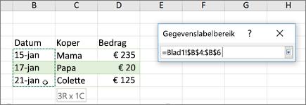 Het dialoogvenster gegevens label bereik