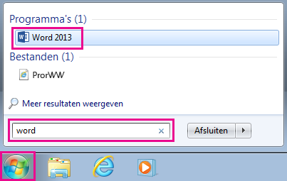 Office-apps zoeken in Windows 7