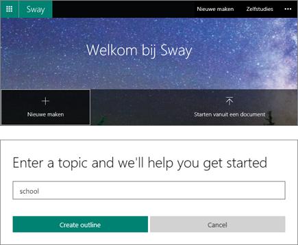 Samengestelde schermafbeelding van het scherm Welkom bij Sway en het deelvenster QuickStarter voor het invoeren van onderwerpen.