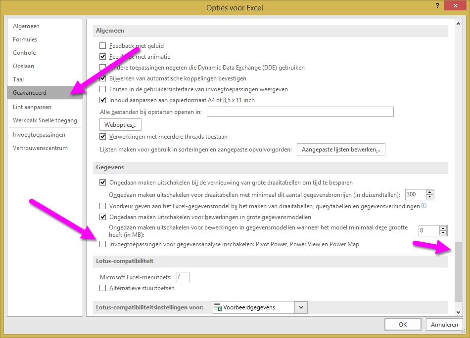 Het venster Opties voor Excel