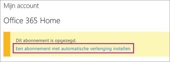 Schermafbeelding van de koppeling Automatische verlenging van abonnement instellen.