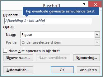 Typ in het labelveld de optionele aangepaste tekst voor uw bijschriften.