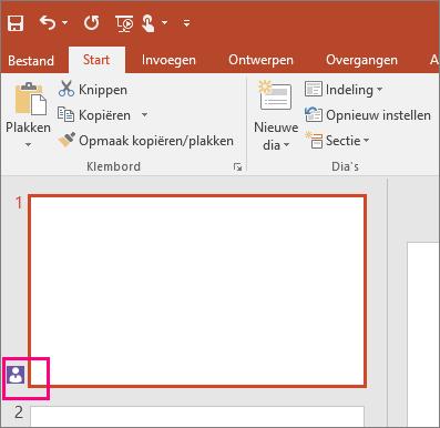Toont het pictogram dat aangeeft dat iemand anders samenwerkt aan een dia in PowerPoint 2016