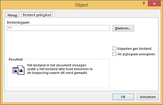Maken op basis van het tabblad bestand in het dialoogvenster Object