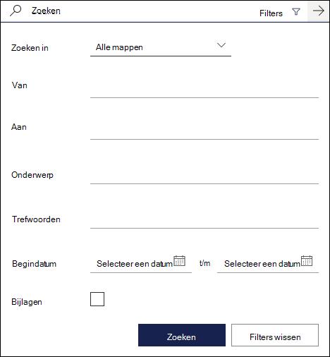Zoekvak in de webversie van Outlook met de beschikbare filters
