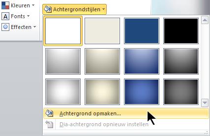 Selecteer uiterst rechts op het tabblad Ontwerpen Achtergrondstijlen en kies Achtergrond opmaken