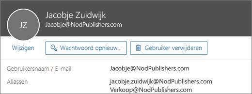 Deze gebruiker heeft een primair e-mailadres en twee aliassen.
