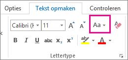 De knop Hoofdlettergebruik wijzigen op het tabblad Tekst opmaken